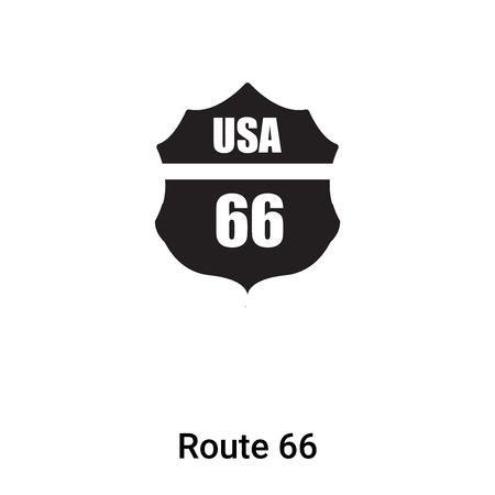 Route 66 icon isolated on white background,  concept of Route 66 sign on transparent background, filled black symbol Illustration
