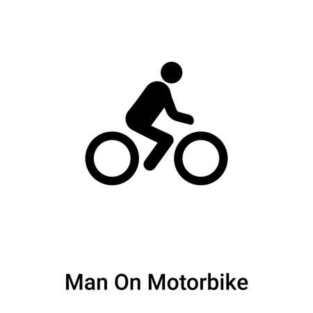 Man On Motorbike icon vector isolated on white background,  concept of Man On Motorbike sign on transparent background, filled black symbol
