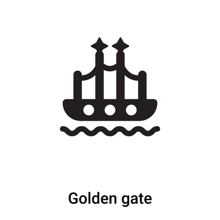 Golden gate icon vector isolated on white background, concept of Golden gate sign on transparent background, filled black symbol