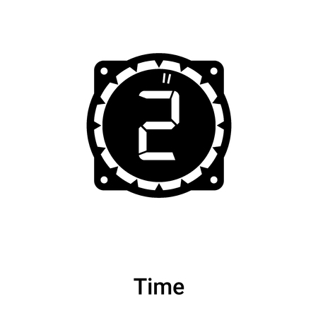 Time icon vector isolated on white background, logo concept of Time sign on transparent background, filled black symbol Иллюстрация