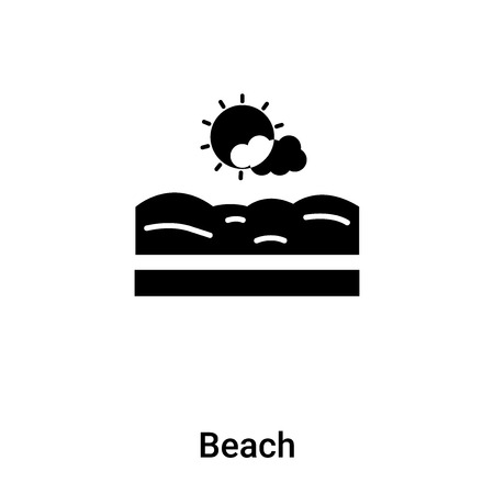 Beach icon vector isolated on white background, logo concept of Beach sign on transparent background, filled black symbol Фото со стока - 121292576