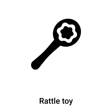 Rattle toy icon vector isolated on white background, logo concept of Rattle toy sign on transparent background, filled black symbol