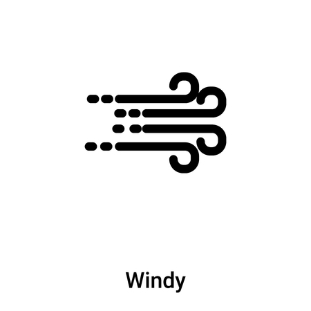 Windy icon vector isolated on white background,  concept of Windy sign on transparent background, filled black symbol