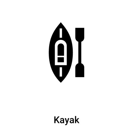 Kayak icon vector isolated on white background,  concept of Kayak sign on transparent background, filled black symbol