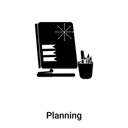Planning icon vector isolated on white background,  concept of Planning sign on transparent background, filled black symbol