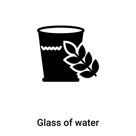 Glass of water icon vector isolated on white background, concept of Glass of water sign on transparent background, filled black symbol Иллюстрация