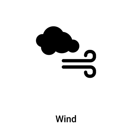 Wind icon vector isolated on white background,  concept of Wind sign on transparent background, filled black symbol