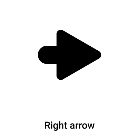 Right arrow icon vector isolated on white background,  concept of Right arrow sign on transparent background, filled black symbol