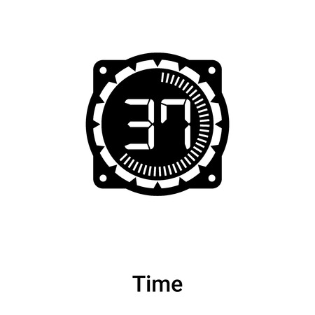 Time icon vector isolated on white background,  concept of Time sign on transparent background, filled black symbol