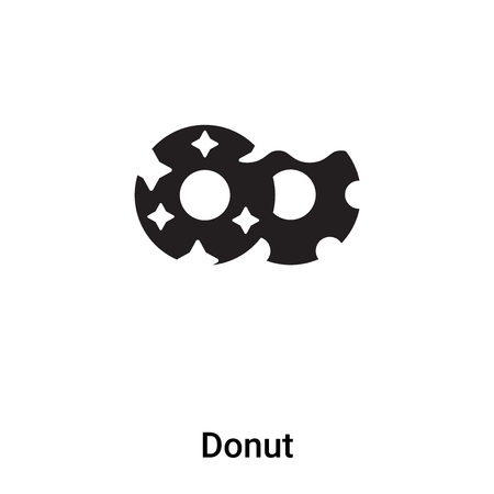 Donut icon vector isolated on white background,  concept of Donut sign on transparent background, filled black symbol
