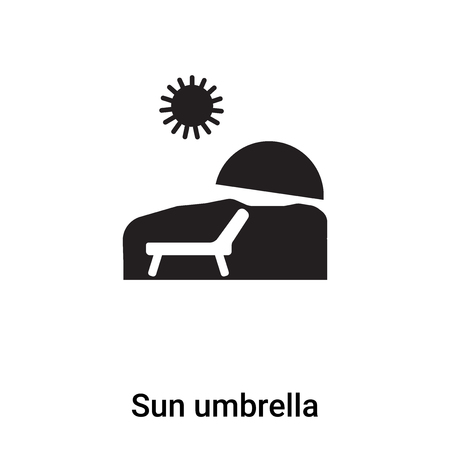 Sun umbrella icon vector isolated on white background,  concept of Sun umbrella sign on transparent background, filled black symbol