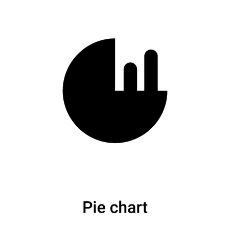Pie chart icon vector isolated on white background,  concept of Pie chart sign on transparent background, filled black symbol
