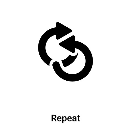 Repeat icon vector isolated on white background, concept of Repeat sign on transparent background, filled black symbol Иллюстрация