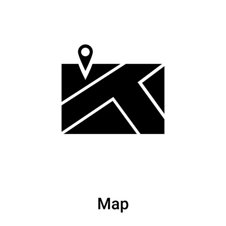 Map icon vector isolated on white background,  concept of Map sign on transparent background, filled black symbol