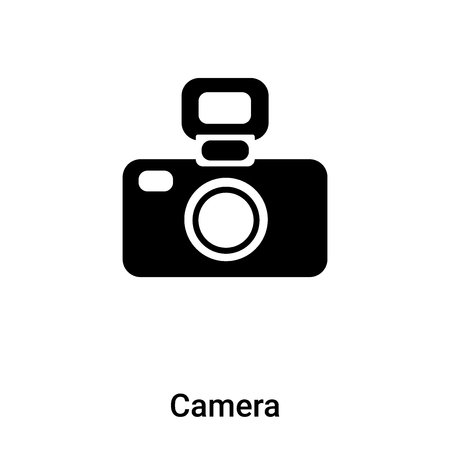 Camera icon vector isolated on white background,  concept of Camera sign on transparent background, filled black symbol