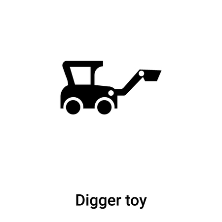 Digger toy icon vector isolated on white background,  concept of Digger toy sign on transparent background, filled black symbol