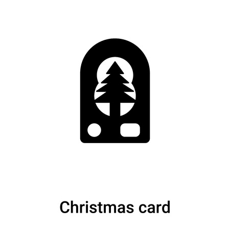 Christmas card icon vector isolated on white background, concept of Christmas card sign on transparent background, filled black symbol