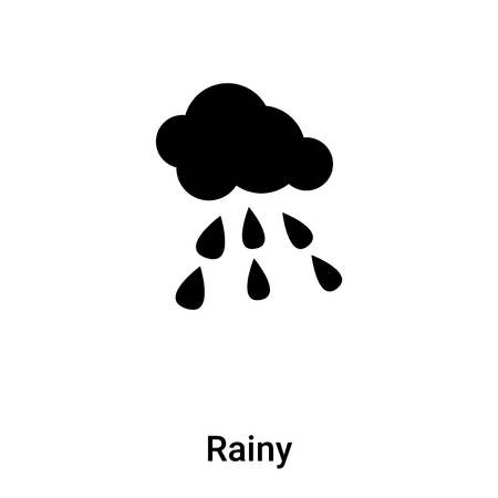 Rainy icon vector isolated on white background, concept of Rainy sign on transparent background, filled black symbol Иллюстрация