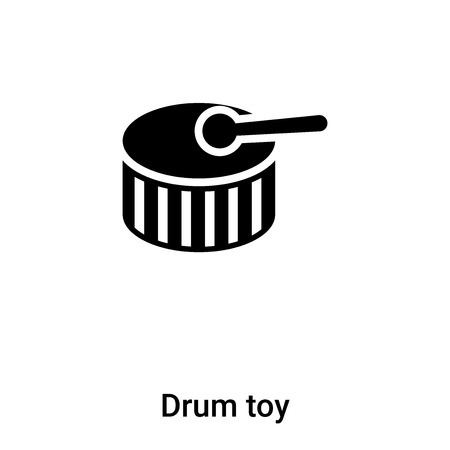Drum toy icon vector isolated on white background, concept of Drum toy sign on transparent background, filled black symbol