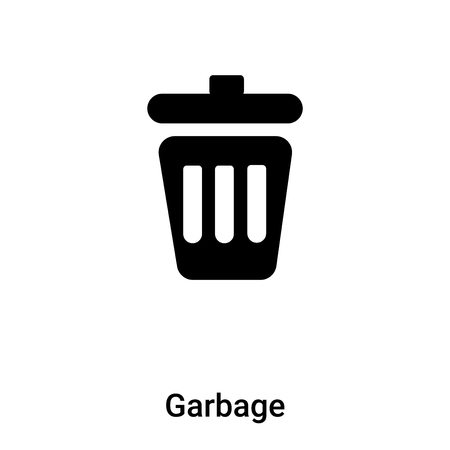 Garbage icon vector isolated on white background,  concept of Garbage sign on transparent background, filled black symbol