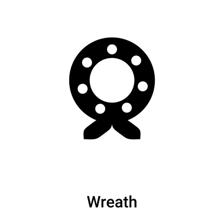 Wreath icon vector isolated on white background,  concept of Wreath sign on transparent background, filled black symbol Çizim