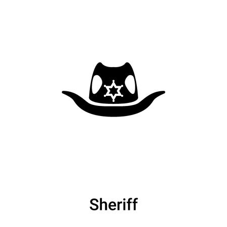 Sheriff icon vector isolated on white background,  concept of Sheriff sign on transparent background, filled black symbol Çizim