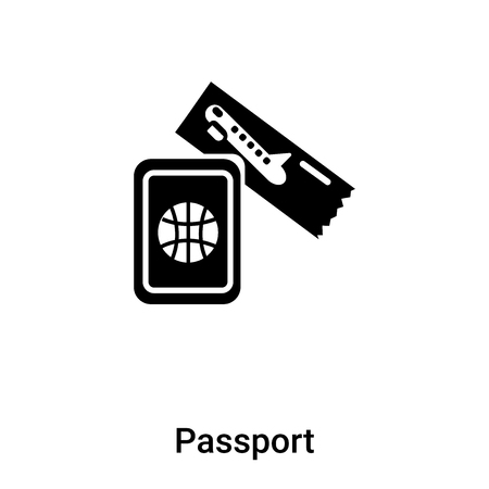 Passport icon vector isolated on white background,  concept of Passport sign on transparent background, filled black symbol