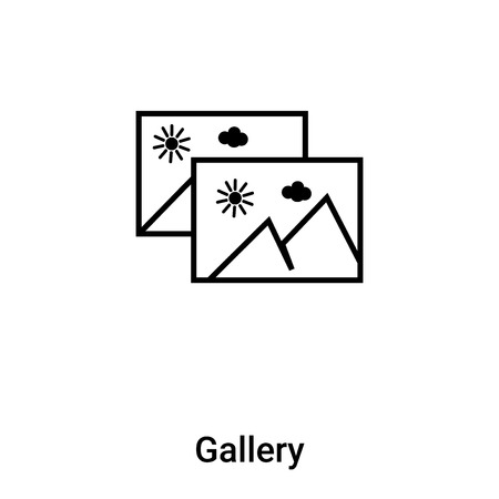 Gallery icon vector isolated on white background,  concept of Gallery sign on transparent background, filled black symbol Иллюстрация