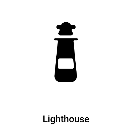 Lighthouse icon vector isolated on white background,  concept of Lighthouse sign on transparent background, filled black symbol