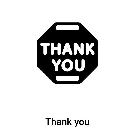 Thank you icon vector isolated on white background,  concept of Thank you sign on transparent background, filled black symbol