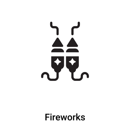 Fireworks icon vector isolated on white background, logo concept of Fireworks sign on transparent background, filled black symbol Illustration