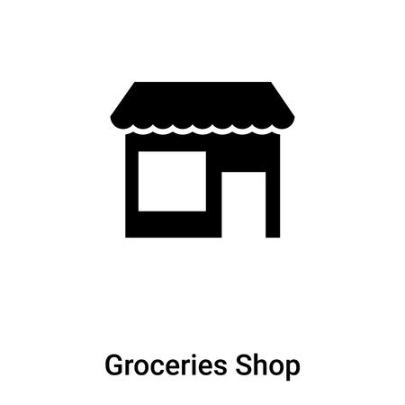 Groceries Shop icon vector isolated on white background,  concept of Groceries Shop sign on transparent background, filled black symbol Illustration