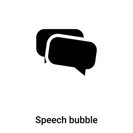 Speech bubble icon vector isolated on white background, concept of Speech bubble sign on transparent background, filled black symbol Illustration