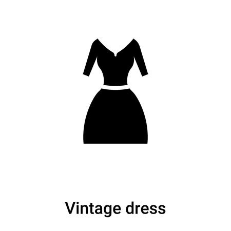 Vintage dress icon  vector isolated on white background,  concept of Vintage dress  sign on transparent background, filled black symbol