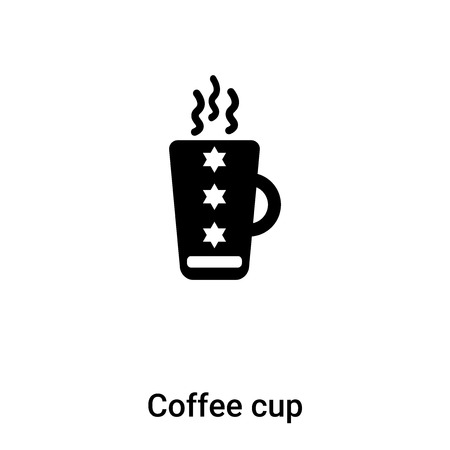 Coffee cup icon vector isolated on white background,  concept of Coffee cup sign on transparent background, filled black symbol