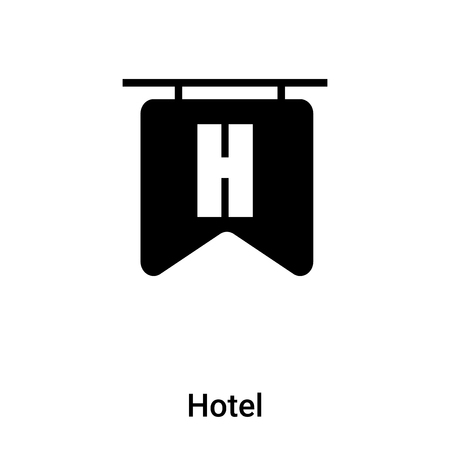 Hotel icon vector isolated on white background, concept of Hotel sign on transparent background, filled black symbol