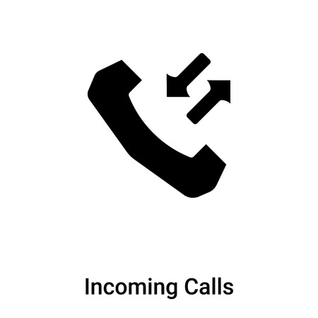Incoming Calls icon vector isolated on white background, concept of Incoming Calls sign on transparent background, filled black symbol
