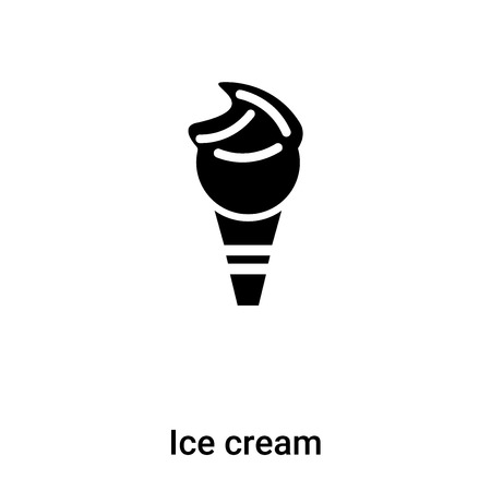 Ice cream icon vector isolated on white background, concept of Ice cream sign on transparent background, filled black symbol