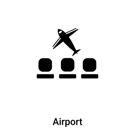 Airport icon vector isolated on white background,  concept of Airport sign on transparent background, filled black symbol Illustration