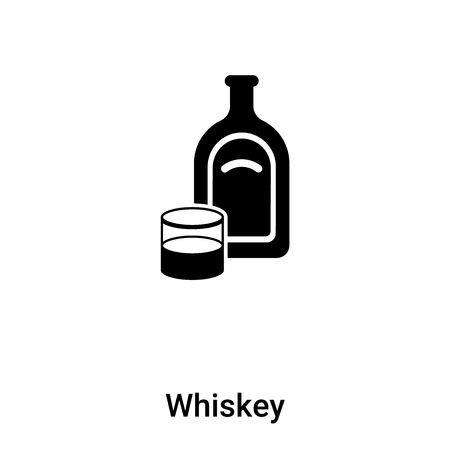 Whiskey icon vector isolated on white background,  concept of Whiskey sign on transparent background, filled black symbol