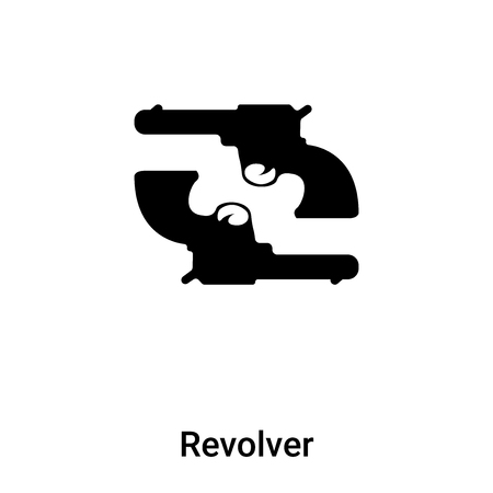 Revolver icon vector isolated on white background,  concept of Revolver sign on transparent background, filled black symbol