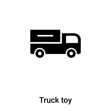 Truck toy icon vector isolated on white background,  concept of Truck toy sign on transparent background, filled black symbol