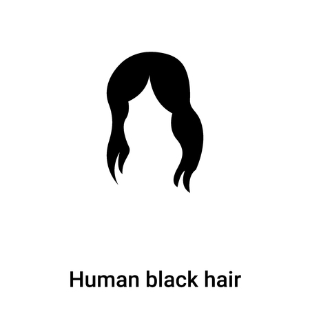 Human black hair icon  vector isolated on white background, concept of Human black hair  sign on transparent background, filled black symbol