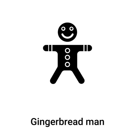 Gingerbread man icon vector isolated on white background,  concept of Gingerbread man sign on transparent background, filled black symbol Illustration
