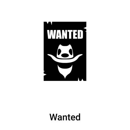 Wanted icon vector isolated on white background,  concept of Wanted sign on transparent background, filled black symbol