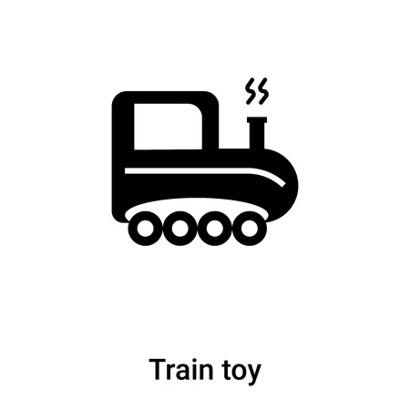 Train toy icon vector isolated on white background,  concept of Train toy sign on transparent background, filled black symbol Illustration