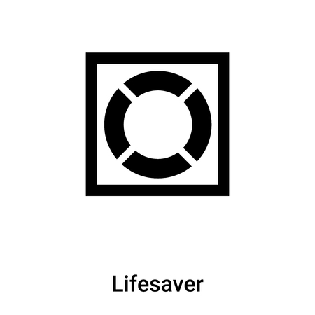 Lifesaver icon vector isolated on white background,  concept of Lifesaver sign on transparent background, filled black symbol Иллюстрация