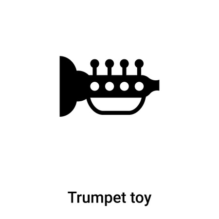 Trumpet toy icon vector isolated on white background,  concept of Trumpet toy sign on transparent background, filled black symbol