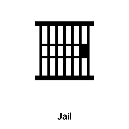 Jail icon vector isolated on white background,  concept of Jail sign on transparent background, filled black symbol