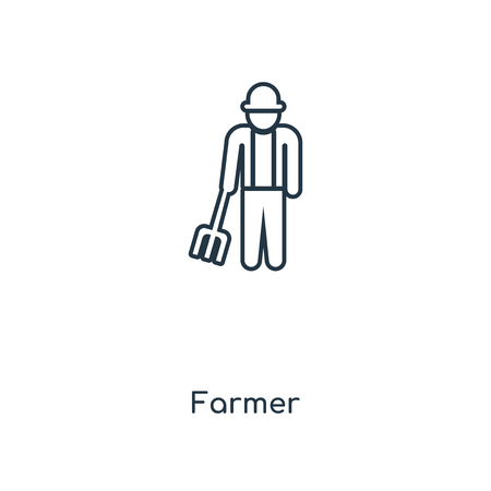Farmer concept line icon. Linear Farmer concept outline symbol design. This simple element illustration can be used for web and mobile UIUX.